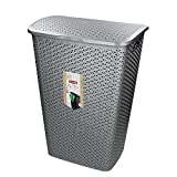 Curver 00713-087-00 My Style Wäschebox 55 L, Plastik, silber, 42,8 x 33 x 60,4 cm