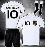 ElevenSports Deutschland Trikot + Hose + Stutzen mit GRATIS Wunschname + Nummer + Wappen Typ #D 2020 im EM/WM Weiss - Geschenke für Kinder,Jungen,Baby. Fußball T-Shirt personalisiert
