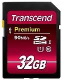 Transcend TS32GSDU1 Class 10 UHS-I Premium SDHC 32GB Speicherkarte (300x) [Amazon frustfreie Verpackung]
