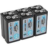ANSMANN LSD 9V Akkubatterie / Typ 300mAh / Wiederaufladbarer NiMH E-Block / Vorgeladener Akku mit geringer Selbstentladung & hoher Kapazität / Ideal für Spielzeug, Taschenlampe, uvm. / 6 Stück