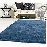 Taracarpet Designer-Teppich Galant Flauschige Flachflor Teppiche fürs Wohnzimmer, Esszimmer, Schlafzimmer oder Kinderzimmer weich und Schadstoffgeprüft dunkel-blau 250x250 cm