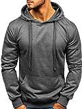 BOLF Herren Kapuzenpullover Sweatshirt Basic Sport Style Casual Style J.Style 22002 Dunkelgrau M [1A1]
