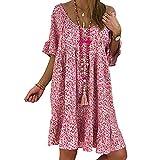 A-Line Damen Midi Kleider Kurzarm Kleid V-Ausschnitt Strand Blumen Kleider Abendkleid Laternenärmel Strandkleid Strandpullover Strandoveralls