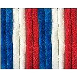 Flauschvorhang in Fussballvereins- und Länderfarben, Campingvorhang Insektenschutz, Auswahl: 90x200 cm Unistreifen rot - weiß - blau