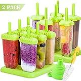 Akrcheft Eisformen, 12Kunststoff Eisformen Popsicle Formen Set, EIS Pop Macher, LGFB Geprüft und Bra Frei, mit Reinigungsbürste und Falttrichter.