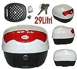 A-pro Box Gepaeck Motorrad Roller Top Case Universal 29lt 3,5 Kg. 2 Schluessel Weiss