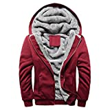 Riou Herren Strickjacke Cardigan Beiläufige DünneStrickpullover mit Kapuze Kapuzenpullover Pullover Männer Hoodie Winter warme Fleece Zipper Sweater Jacke Outwear Mantel (2XL, Rot)
