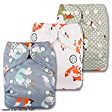 Little Bloom Stoff-Windeln / Taschenwindel Set, wiederverwendbar, Druckknopf-Verschluss, verschiedene Muster, 3-teilig