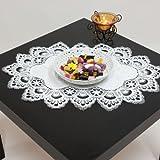 Tischdecke Jacquard Deckchen mit Spitze Farbe wollweiß creme, Verschiedene Größen (ca. 36x53 cm oval)