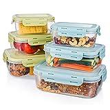 Frischhaltedosen-Set, Baban 6tlg Brotdosen-Set Stapelbar, Klassifizierter Speicher, BPA-frei, Clip & Close