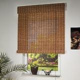 Liedeco Rollo Holz mit Seitenzug, Holzrollo für Fenster und Tür braun B 80 cm x L 170 cm