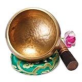 Original Tibetische Klangschale 13cm. Klangschalen Set mit Klöppel und Klangschalenkissen in Loktapapier Geschenk-Box. Singing Bowl aus Tibet
