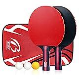 Calmare Tischtennis-Set, Packung mit 2 Premium-Paddeln, Training/Freizeit-Schläger-Kit, Accessoires Bundle Portable Cover Case Bag