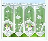 Kamaca Bistrogardine Kindergardine Einhorn IN DEN Wolken individuell in der Breite kürzbar Halbtransparent Breite 140 cm/Höhe 45 cm Scheibengardine (Regenbogen - Einhorn)