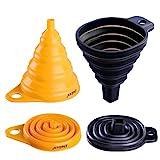 Deiss ART Silikon zusammenklappbaren Trichter gesetzt - gerundet & Squared Faltbarer Trichter-Grade, BPA-freien, Spülmaschinenfest - Set von 2