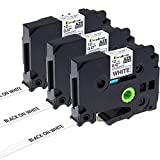 3x TZe-231 TZ-231 Schriftband für Brother P-touch Etikettenband 12mm breit x 8m Länge schwarz auf weiß (kompatibel u.a. mit Brother Ptouch H100LB, H105WB, E100/VP, D200/BW/VP, D210/VP, D400 uvm.)