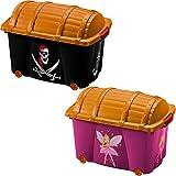 Aufbewahrungsbox Schatztruhe | für Jungen 'Pirat' | Mädchen 'Fee' | 50L | Deckel mit Verschluss | 4 Rollen | Spielkiste Schatzkiste Spielzeugbox verschließbar