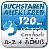 hanse graphics 120 Buchstabenaufkleber Klebebuchstaben je 4cm hoch, Buchstaben Aufkleber A-Z in Wunschfarbe und -Schrift