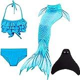 shepretty Mädchen Meerjungfrauenschwanz Bikini Set Zum Schwimmen mit Meerjungfrau Flosse Badeanzüge Prinzessin Cosplay Kostüm,DH53,140