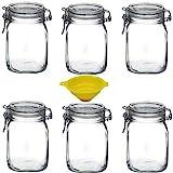Viva Haushaltswaren - 6 x Bügelglas 1 L mit Verschluss, eckiges Drahtbügelglas zum Befüllen als Einmachgläser, Weckgläser, Vorratsdosen etc. verwendbar (inkl. Trichter)