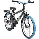 BIKESTAR Premium Sicherheits Kinderfahrrad 20 Zoll für Jungen ab 6-7 Jahre  20er Kinderrad Modern  Fahrrad für Kinder Schwarz & Blau