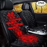 STYLINGCAR Sitzheizung Auto Sitzkissen Beheizbar Sitzauflage schwarz/Kaffee + Steckdose, für Fahrersitz, Beifahrersitz, Rücksitz (2 Schwarze Vordersitzkissen)