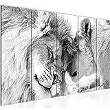 Bilder Löwen Liebe Wandbild 200 x 80 cm Vlies - Leinwand Bild XXL Format Wandbilder Wohnzimmer Wohnung Deko Kunstdrucke Weiß 5 Teilig - Made IN Germany - Fertig zum Aufhängen 002155c