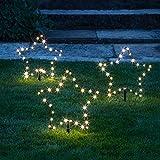 Lights4fun 3er Set Micro LED Sterne warmweiß 4,5V Außenbereich