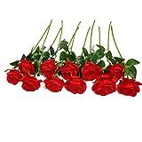 JUSTOYOU 10 Pack Künstliche Seide Rose Blumen Hochzeit Sträuße(rot)