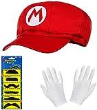 Super Mario Mütze rot im Komplettset mit weißen Handschuhen und Klebe-Bärten für Erwachsene und Kinder Karneval Fasching Motto Party Verkleidung Kostüm Mützen Hut Cap Herren Damen Kappe