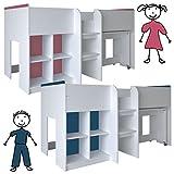 habeig Kinderbett HOCHBETT weiß rosa/blau Schreibtisch Regal Treppe KOMBIBETT 90x190cm