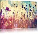 Mohn im Weizenfeld Kunst Pinsel Effekt, Format: 120x80 auf Leinwand, XXL riesige Bilder fertig gerahmt mit Keilrahmen, Kunstdruck auf Wandbild mit Rahmen, günstiger als Gemälde oder Ölbild, kein Poster oder Plakat