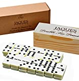 Jaques of London Dominoes - Club Double Six Domino in Einer Holzschiebedeckelbox