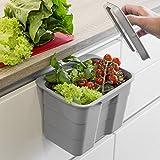 SO-TECH BIKI Bio-Müll Abfallbehälter 4,2 L grau mit Deckel Abfallsammler zum Einhängen Mülleimer Tischmülleimer