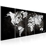 SENSATIONSPREIS 200 x 80 cm Weltkarte World Map Wandbild Vlies - Leinwand Bild XXL Format Wandbilder Wohnzimmer Wohnung Deko Kunstdrucke Schwarz Weiß 5 Teilig -100% MADE IN GERMANY - Fertig zum Aufhängen 002955a