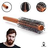 Sunnah Bart Männer Rundbürste - 32 mm Ø für den Bart und kurze Haare I Bartbürste für den Mann I Föhnbürste mit speziellen Noppen I rund Haarbürste aus Holz perfekt für die Reise