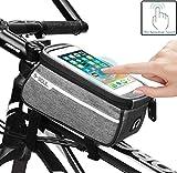 CRAZYBOY Fahrrad Tasche, Wasserdicht Fahrrad Lenkertasche TPU Sensitive Touchscreen Fahrradrahmen Tasche Radfahren Vorne Tube Tasche Handyhalter für Alle Smartphones Unter 6,0 inches (1L) (Braun)