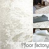 floor factory Hochflor Shaggy Teppich Prestige weiß 80x150 cm - Superweicher Flauschiger Langflor Teppich