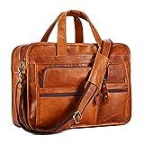 Leder Aktentasche Laptoptasche Herren Damen Ölwachs Echte Leder Vintage Businesstasche für 15.6 Zoll Laptop,Ledertasche Umhängetasche, Business Klassische Echt-Leder Messenger Tasche Schultertasche