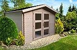 Alpholz Gerätehaus Holz mit Boden 270 x 210cm | Gartenhaus mit Dachpappe | Geräteschuppen naturbelassen ohne Farbbehandlung (270 x 210cm)