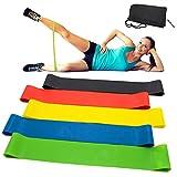 CUXUS Fitnessbänder/Widerstandsbänder, Set- 5 Gymnastikband aus Latex, Trainingsbänder, Loop Bänder, Mini Bands, Übungsbänder für Muskelaufbau Physiotherapie Pilates Yoga Gymnastik und Crossfit