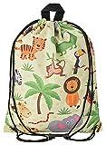 Aminata Kids - Kinder-Turnbeutel für Mädchen und Junge-n mit Safari Waldtier-e Dschungel Zoo-Tier-e Sport-Tasche-n Gym-Bag Sport-Beutel-Tasche gelb AFFE-n Löwe-n Elefant-en