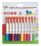 Marabu 043000201 - Textil-/Stoffmalstifte für Kinder in leuchtenden Farben, für helle Stoffe, bis 60° waschbar, 10er Set