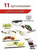 11tlg. Frühstücksset Servier-Set Servierschalen Dipschalen Porzellan in weiß