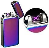 PEARL Sturmfeuerzeug: Elektronisches USB-Feuerzeug mit doppeltem Lichtbogen & Akku, violett (Elektrische Akku Feuerzeuge)