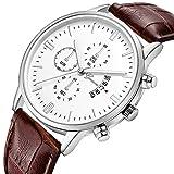 uhr for herren Chronograph Analogue Quartz Wasserdicht Business Schwarz Zifferblatt Armbanduhr mit Edelstahl Armband(V)