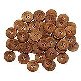 Bluelans Knöpfe für Kinder Kinderknöpfe Holzknöpfe Knopf Scrapbooking Mischung aus 50 Holzknöpfen, 25mm Durchmesser