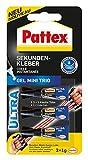 Pattex Sekundenkleber Gel Mini Trio/Lösungsmittelfreier Gel-Kleber/Transparent, tropffrei und wasserfest, 3 x 1 g