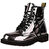 SCARPE VITA Damen Stiefeletten Worker Boots Metallic Schnürstiefel Outdoor 164171 Grau Metallic 38