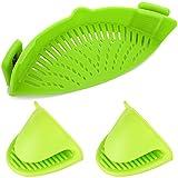 clip-on Silikon Sieb Sieb, yucool hands-free Silikon hitzebeständig Drainer Spaghetti- und Pasta-Topf Pfanne mit 2Filtern gloves-, Grün